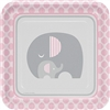 The Little Peanut Pink Dinner Plates are perfect for a baby shower welcoming a new baby girl. 9-inch square coated paper plates feature adorable mother and baby elephant in a pink, white, and grey color scheme. Eight plates per package.