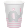 The Little Peanut Pink Hot/Cold Cups will serve your baby shower guests in style. Printed with an adorable design featuring a baby elephant against a color scheme of grey, pink and white. Eight 9-ounce cups per package.
