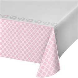 Little Peanut Pink Tablecover will protect your tables with an adorable pattern of elephants and pink accents. Each table cover measures 54 by 102 inches. Little Peanut is a popular baby shower theme! One per package. Also available in a blue version.