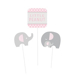 Little Peanut Pink Centerpiece Sticks will help create the perfect DIY centerpieces for a girl themed baby shower.  Sticks feature printed card stock designs with grey, pink, and white elephants and a Little Peanut sign.  Pkg of 3, varying lengths.