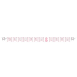 The Little Peanut Pink Welcome Baby Banner is a lovely way to welcome home the new baby girl, or hang at the baby shower. Measuring 11.5 feet in length, the phrase Welcome Baby is centered between two printed card stock elephants. Also available in blue