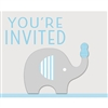 The Little Peanut Blue Invitations will announce the baby shower for the new little boy. Printed in a blue, grey and white color scheme each invitation features an elephant balancing a blue peanut on her trunk. Eight invitations and envelopes per pkg.