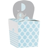 The Little Peanut Blue Favor Boxes are perfectly sized to fill with candy for your baby shower guests. Measuring 2 inches square, each box is printed in a blue, grey and white color scheme and adorned with a cutout of an adult and baby elephant.
