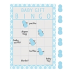 The Little Peanut Blue Bingo Game is perfect for any boy baby shower. Played just like Bingo, cover the squares that coordinate to the gift being unwrapped by the mother-to-be. Includes 10 cards and 10 sheets of stickers. Also available in pink.