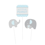 Little Peanut Blue Centerpiece Sticks will help you create lovely centerpieces for your little boy baby shower. Two card stock elephants and a Little Peanut sign are attached to three plastic sticks in varying lengths. Blue, white and grey color scheme.