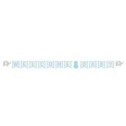 The Little Peanut Blue Welcome Baby Banner is a perfect addition to your baby shower decorations. Banner measures 11.5 feet in length and comes fully assembled. The phrase Welcome Baby is accented on each end with card stock elephants. One per pkg.