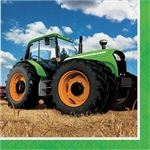 The Tractor Time Luncheon Napkins will help keep the messiest little farmers clean. These 2-ply paper napkins feature a big green tractor standing in a freshly harvested field against a backrop of blue sky. Sixteen napkins per package.