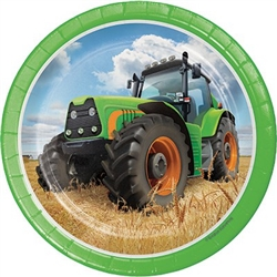 The Tractor Time Dessert Plates will serve up cake or other treats to your favorite farm fan. Each 7-inch dessert plate is printed with a realistic looking big green tractor sitting in a freshly harvested field of wheat. Each package contains eight plates