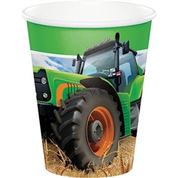 The Tractor Time Hot/Cold Cups feature a big green tractor rolling thru a freshly harvested field of wheat. Each coated paper cup can hold up to 9 ounces of your favorite hot or cold beverage. Eight cups per package. Perfect for a farm theme party!