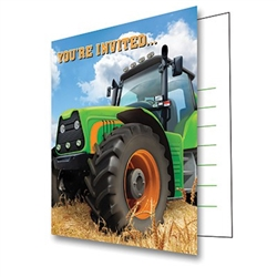 The Tractor Time Invitations are perfect to send to guests invited to your farm theme party or event. Each invitation is printed with a big green tractor and includes a coordinating green envelope. Package of 8 invitations and 8 envelopes.