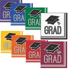 These 2-ply paper Graduation Beverage Napkins come in several school colors from which to choose. Each package contains 36 beverage sized napkins. Choose one color, or choose two different colors to match your school colors.