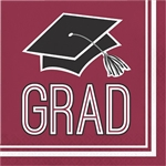 Graduation Beverage Napkins - Burgundy