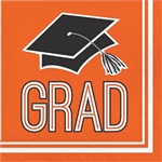 Graduation Beverage Napkins - Orange
