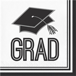 These white Graduation Luncheon Napkins come 36 2-ply paper napkins/package.  We also have matching plates!