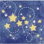 To the Moon and Back Beverage Napkins feature a smattering of yellow and white stars against a dark blue nighttime sky. Perfect for baby showers, these 2-ply paper napkins will serve small treats in style. Sixteen napkins per package.