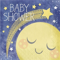 To the Moon and Back Shower Lunch Napkins are perfect for a baby shower. Baby Shower is printed on these 2-ply paper napkins, along with a yellow moon and some stars against a dark blue sky. Sixteen dinner sized napkins per package.