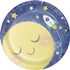To the Moon and Back Dessert Plates are perfectly sized to hold desserts or appetizers. A yellow moon, stars, and small rocket ship are printed against a dark blue background. 7-inch diameter coated paper plates come in a package of eight.