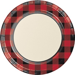 Our Buffalo Plaid Dinner Plates feature a traditional red and black buffalo plaid design that would make anyone jealous! Each coated paper plate measures almost nine inches diameter and is very sturdy. Eight round plates per package.