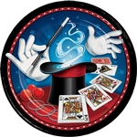 The Magic Party Dinner Plates are the perfect party accessory for anybody that is a fan of magic and slight of hand tricks. These coated paper plates measure almost 9 inches in diameter and feature a colorful image of magic wand, hat, gloves, and cards.