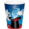 The Magic Party Hot/Cold Cups feature colorful images of a magician's hat, wand, gloves, and playing cards. The paper cups hold up to 9 ounces of a hot or cold beverage. Perfect for a magic theme party! Each package contains eight cups.