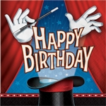 The Magic Party Happy Bday Luncheon Napkins will help magically clean up spills and messes. These 2-ply paper napkins feature a magician's gloved hands waving a magic wand over a magic hat. Happy Birthday appears from the hat. 16 per package.