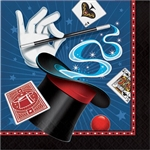 The Magic Party Luncheon Napkin features a colorful printed image of a magician's hat, wand, gloves and playing cards. Each 2-ply paper napkin opens to almost 13 inches, which is ample size to make spills magically disappear. Sixteen napkins per package.