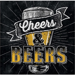 The Cheers & Beers Beverage Napkins are perfect to slide under your beer to protect your table from water rings. There are sixteen 2-ply paper napkins in each package. Black napkins feature an image of a beer glass along with the phrase Cheers & Beers.