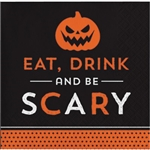 The Halloween Humor Scary Beverage Napkins are fun little napkins featuring the phrase Eat, Drink, and Be Scary. The orange and black color scheme complements traditional Halloween decor. Sixteen 5-inch  2-ply paper napkins per package.