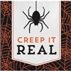 The Halloween Humor Creepy Beverage Napkins are fun little napkins featuring the phrase Creep It Real along with a spider and web printed in an orange and black color scheme. 16 2-ply paper napkins per package. Measures 5 inches square.