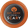 The Halloween Humor Scary Dessert Plates feature a jack-o-lantern and the phrase Eat, Drink and be Scary. Perfectly sized for desserts and appetizers. these black and orange 7-inch printed paper plates come 8 per package.
