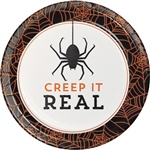 The Halloween Humor Creepy Dessert Plates feature a not-so-scary spider and the phrase Creep It Real. The 7-inch paper plate features a color scheme of black, orange, and ivory. An orange spider web decorates the edge of these plates. Eight per package.
