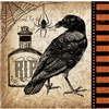 The Spooky Symbols Beverage Napkins are printed with an image of a raven, poison bottle, and spider with web. Muted colors give these a vintage look. The 2-ply paper napkins measure 5 inches square when folded. 16 napkins per package.