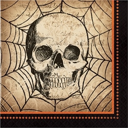 The Spooky Symbols Luncheon Napkins feature an image of a skull with a spiderweb on these 2-ply paper napkins. Perfect for your next Halloween party. Sixteen napkins per package.