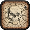 The Spooky Symbols Dessert Plates are perfectly sized for desserts or appetizers. These 7-inch square paper plates feature an image of a skull and spider with web. A black and orange border complements most Halloween decor. 8 plates per package.