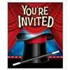 The Magic Party Invitations will inform your guests where the magic is going to happen! Invitations feature an printed image of a magician's hat  and wand, and list designated areas for the details of your event. Package of 8 includes envelopes.