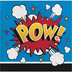 Embrace the superhero theme and keep the little heroes clean thanks to these Superhero Slogans Beverage Napkins. These 2-ply napkins are very colorful and feature classic action words on them. Comes 16 awesome napkins per package.