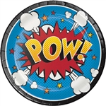These colorful Superhero Slogans Luncheon Plates are fit for a true crime-fighting hero! With an action word covering the plate, it's hard not to get excited about eating and fighting crime! The plates measure 6 7/8 inches and come eight per package.