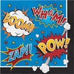 It's hard for your little superhero to fight crime with food on their face or lap! Our Superhero Slogans Luncheon Napkins are perfect for the task at hand. These party napkins measure 12 7/8 inches by 12 3/4 inches and embrace the theme! 16 per package.