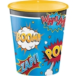 Serve up a hero's portion at a superhero theme party from one of these Superhero Slogans Plastic Cup. The colorful cup is action-packed with action words commonly seen in the comics and movies. The cup holds up to 12 ounces of treats or favors.