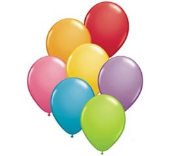 These latex balloons are sold in a package of eight assorted colors. Each balloon measures 11 inches when fully inflated. These helium quality balloons are a must-have item for any party!
