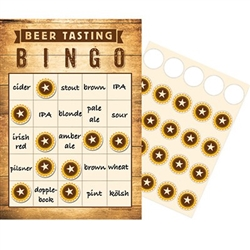 Beer Party Bingo is a fun party game to be played at beer tastings, pub crawls, or Oktoberfest events. Instructions are included for up to 10 players. Game includes ten bingo cards, and marking stickers.