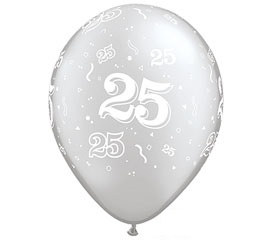 Silver 25th Anniversary Latex Balloons (5/pkg)