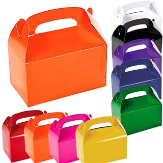 "Solid Color Treat Boxes come in the the popular colors of Black, Blue, Green, Orange, Hot Pink, Purple, Red, White, and Yellow. Package will contain 12 solid color treat boxes in the single color you choose. Assembled boxes measure 6 1/4"" x 3 1/2"" x 6""."