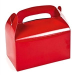 "These Red Treat Boxes are a great treat or favor container to hand out at your next party. Package will contain 12 solid color treat boxes in a bright red color. After some simple assembly, the finished boxes measure 6 1/4"" x 3 1/2"" x 6""."