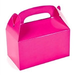 "These Pink Treat Boxes are a great treat or favor container to hand out at your next party. Package will contain 12 solid color treat boxes in a bright pink color. After some simple assembly, the finished boxes measure 6 1/4"" x 3 1/2"" x 6""."