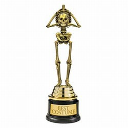 The Best Costume Skeleton Trophy will delight the winner of your Halloween costume contest. Made of gold tone plastic, a goulish skeleton stands on an award base printed with Best Costume. Each trophy stands 9 and a half inches tall.