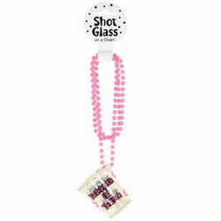 "Bachelorette Party Shot Glass Beads are a great party favor for that fun-loving bachelorette. The plastic shot glass is printed with ""Bachelorette on the Loose"", attached to the bead necklace, allowing it to remain within easy reach throughout the party"