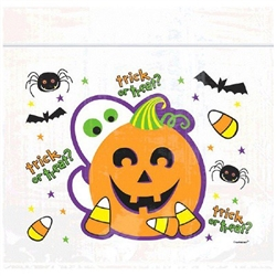 Spooktacular Halloween Treat Bags feature clear resealable bags printed with non-spooky images of spiders, bats, candy corn, friendly ghost and a jack-o-lantern. Perfect for trick or treat and Halloween parties! Thirty 7-inch plastic bags per package.