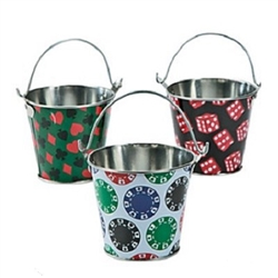 The Casino Pails - Assorted are made of metal with an attached handle. Measure 3 inches tall and 3 1/4 inches across the top. Sold in assorted designs- suits, chips, and dice. Specific designs cannot be requested. Contains one per package.