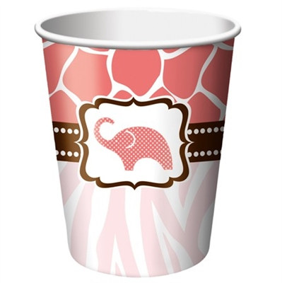 Pink Baby Safari Shower Hot/Cold Cups (8/pkg)